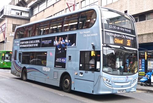 YP63 WFA 'Nottinghham City Transport' 601 Scania 230UD / ADL Enviro 400. Dennis Basford's railsroadsrunways.blogspot.co.uk