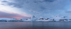 Pink and blue Antarctic sunset