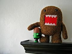teddy bear(0.0), monkey(0.0), crochet(0.0), art(1.0), textile(1.0), brown(1.0), red(1.0), plush(1.0), stuffed toy(1.0), toy(1.0),
