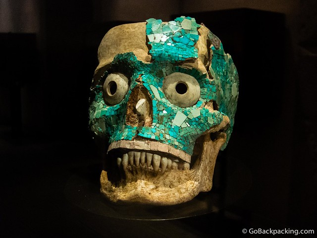 Turquoise-encrusted skull