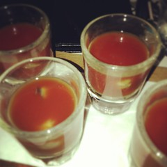Bloody Mary oyster shots... Perfect start to a Friday night.
