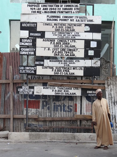 Man in Street with Construction Signage - Dar es Salaam - Tanzania