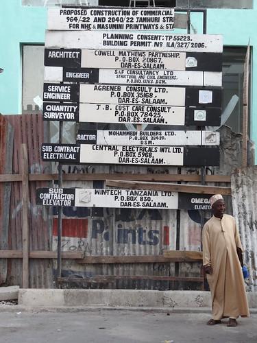 Man in Street with Construction Signage - Dar es Salaam - Tanzania