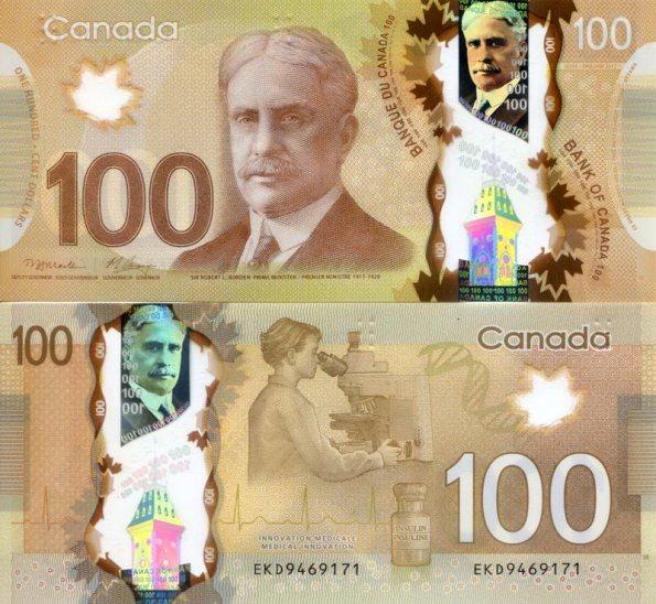 100 Dolárov Kanada 2012, polymer