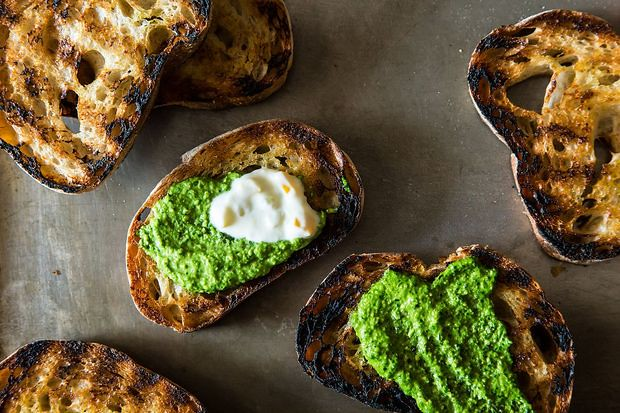 Grilled Bread with Spinach and Thyme Pesto from Food52