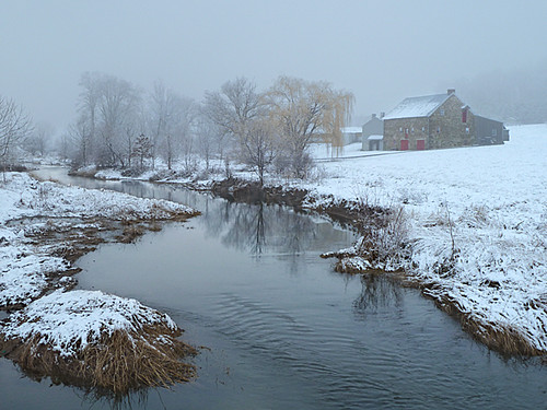 winter snow fog pennsylvania farm lancastercounty muscrat conestogariver muscratlodge