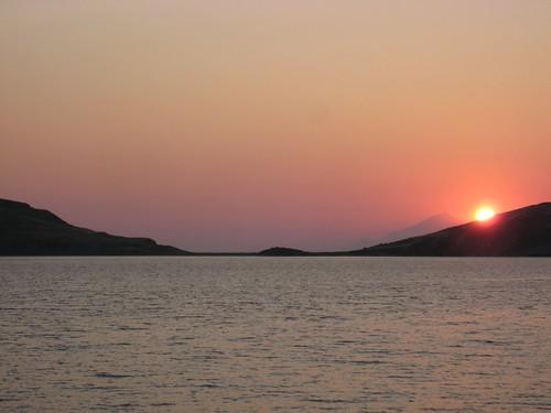 sunset greece limnos ledden