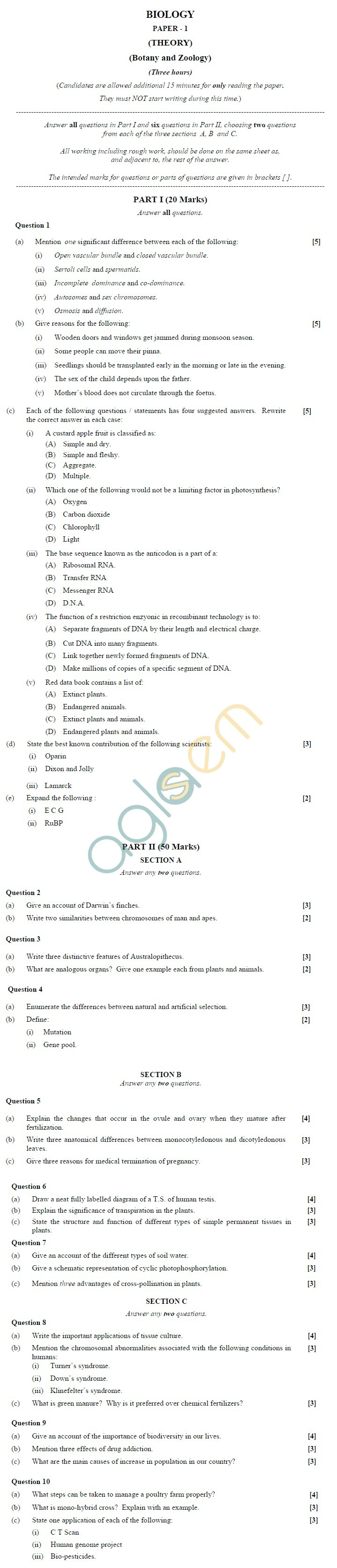 ISC Class 12 Biology Sample Paper 1