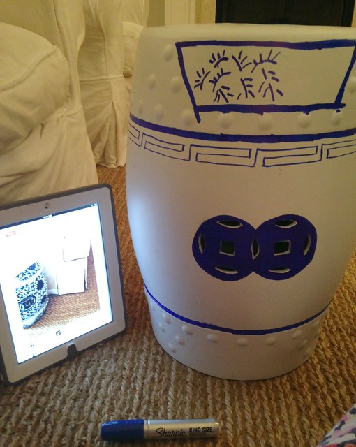 DIY Chinoiserie garden stool with Sharpie