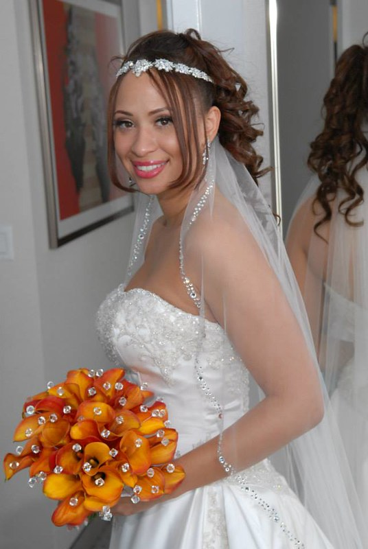 orange and crystal bridal bouquet, crystal edged veil