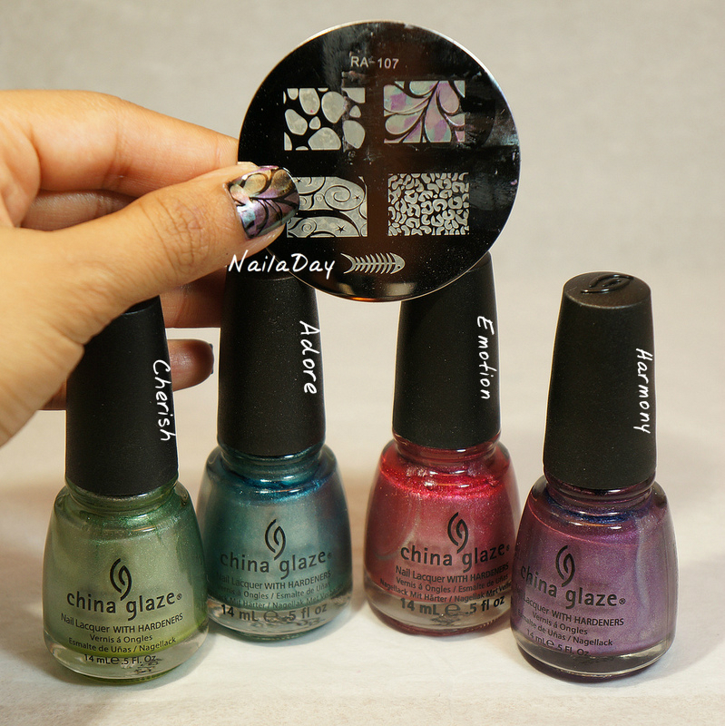 NailaDay: Oil slick butterfly wings using China Glaze Romantique colors