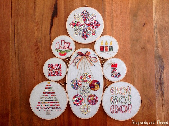 Embroidery Hoop Christmas Tree by Rhapsody and Thread