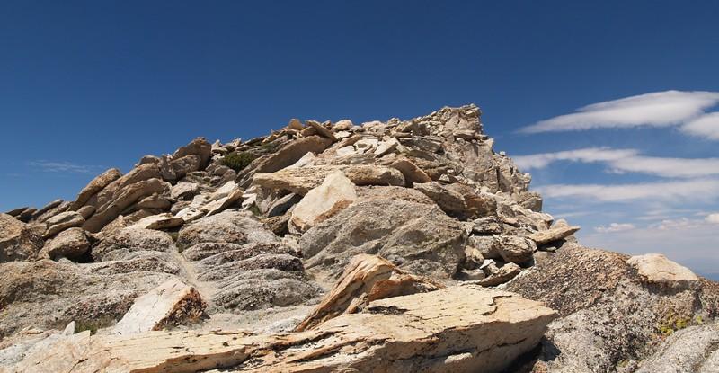 The final rocky climb to the summit of Matterhorn Peak