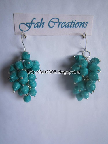 Handmade Jewelry - Paper Bead Grapes Earrings (Aqua Blue) by fah2305