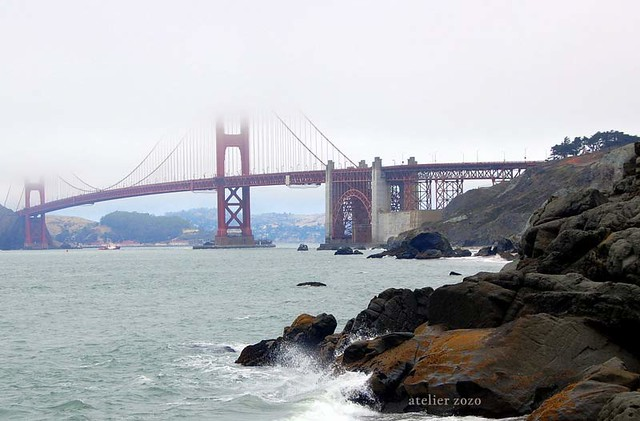 Foggy day in San Francisco, Golden Gate Bridge, view from Baker Beach