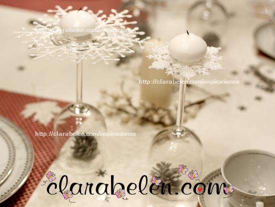 Inspiraciones manualidades y reciclaje decoraci n de for Adornos navidenos con copas y velas
