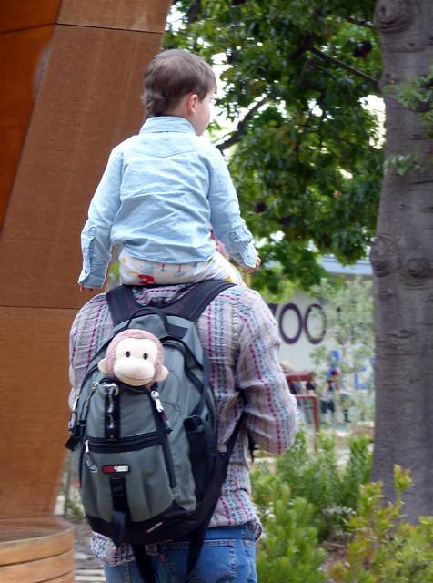 Eskil and Monkey riding Daddy