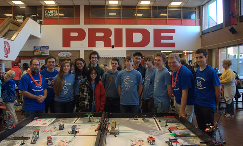 Members after an outreach activity volunteering at the Monroe FLL competition.
