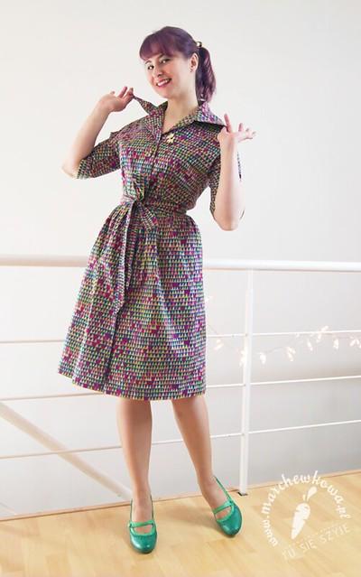 marchewkowa, blog, szycie, krawiectwo, rękodzieło, DIY sewing, retro, vintage, szmizjerka, shirtwaist dress, Burda, wykrój, pattern, bawełna, cotton, B-craft, 60s