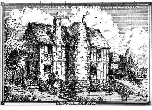 Elston Hall Bushbury. An original Etching from Wolverhampton and The Neighbourhood dated 1889