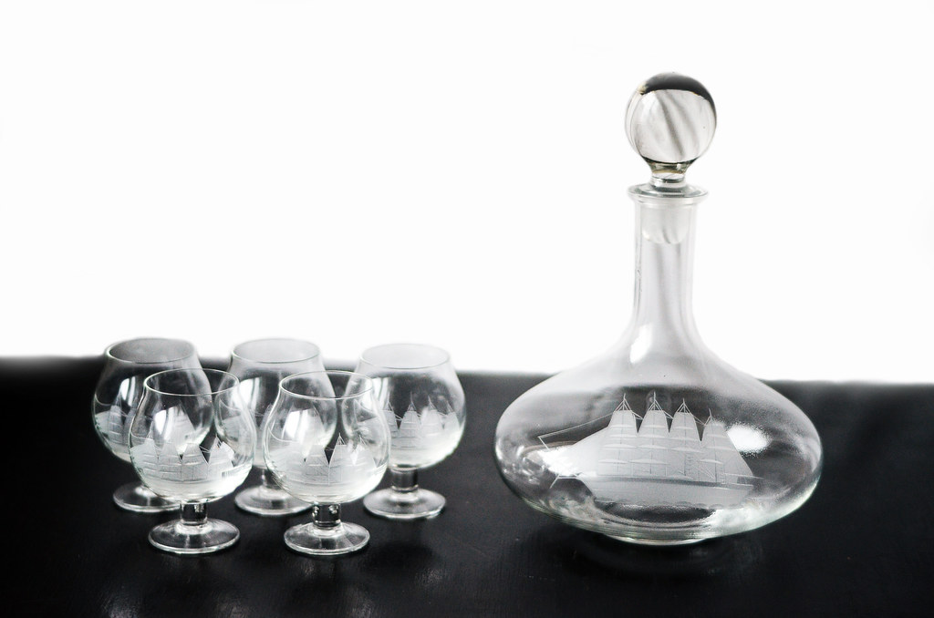 Vintage Glass Clipper Ship Decanter and Matching Snifter Glasses