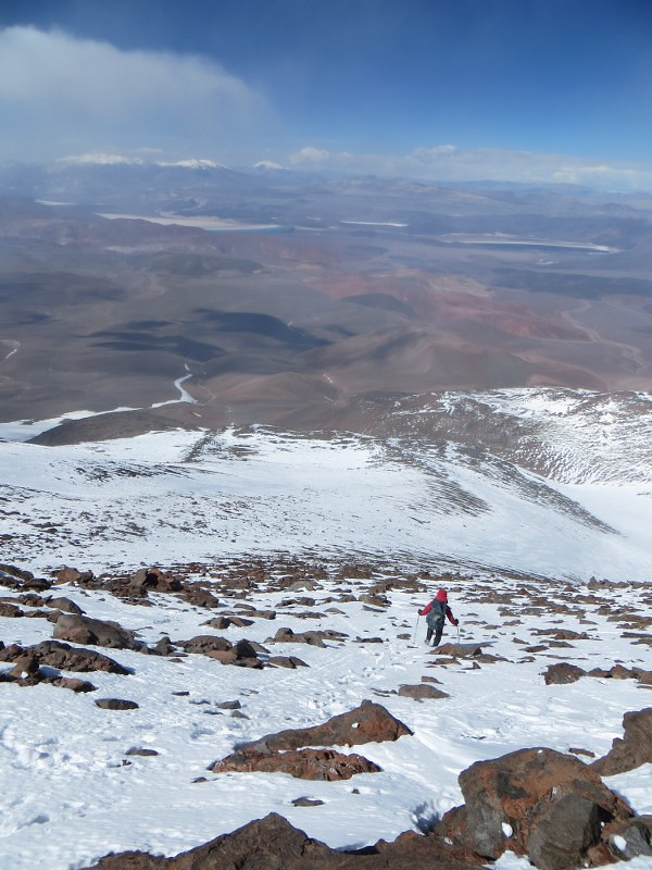 Descending from Pissis East/Ejercito Argentino summit (6800m)
