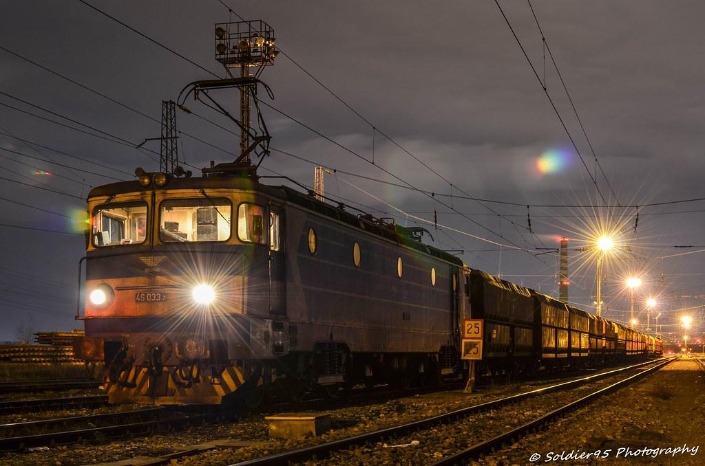 Night train with coal