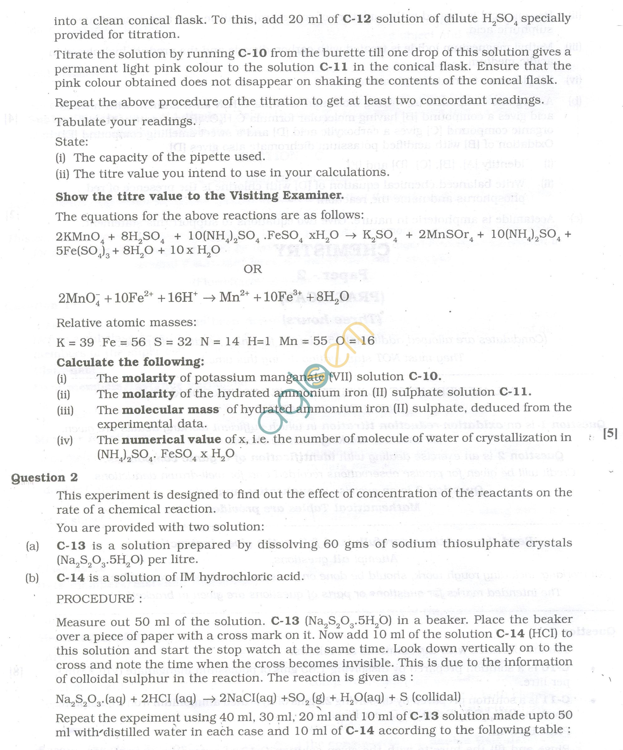 ISC Question Papers 2013 for Class 12 - Chemistry Practical