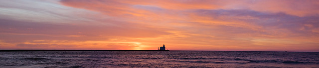 Panorama, Pano, Sunset, Lighthouse, Lake Michigan