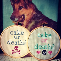 Cake or death? #crossstitch #thebellwether