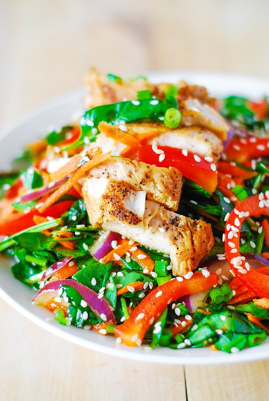 Asian chicken salad recipe with ginger sesame dressing, asian chicken recipes, asian recipes with chicken, healthy chicken salad, easy chicken salad