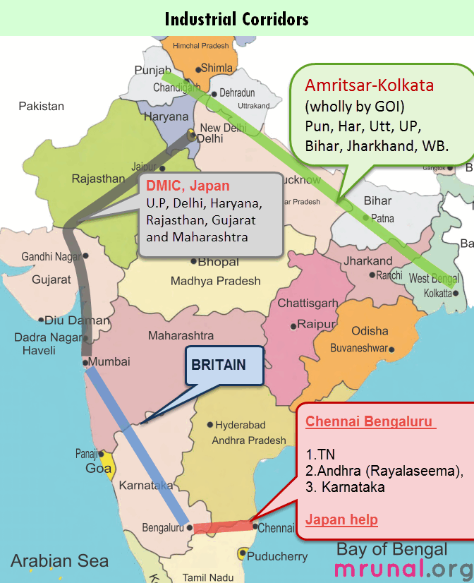 Map Industrial Corridors India