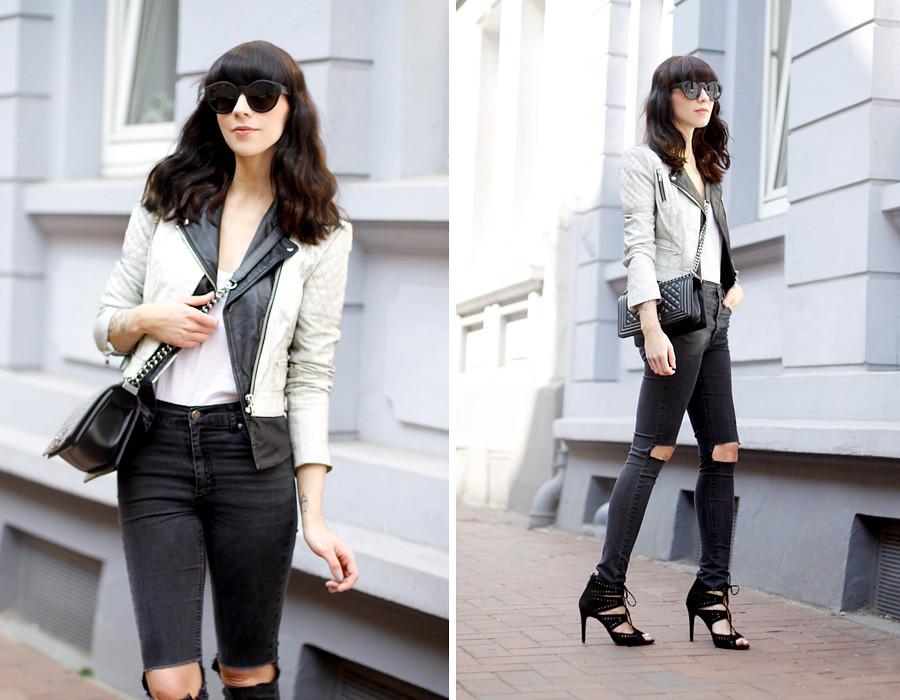 75c5398205 ... Muubaa cracked leather biker jacket Cheap Monday ripped jeans DIY Zara  heels Chanel Le Boy bag