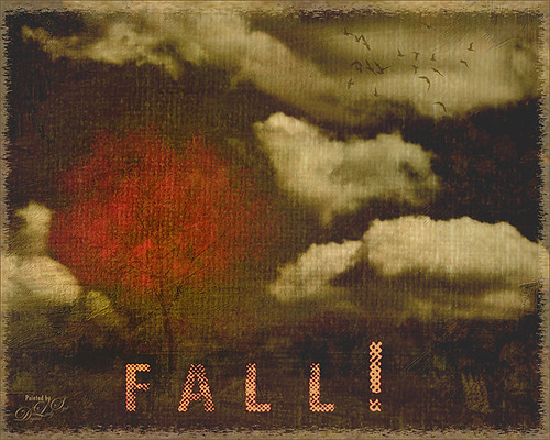 Painted image of a red fall tree