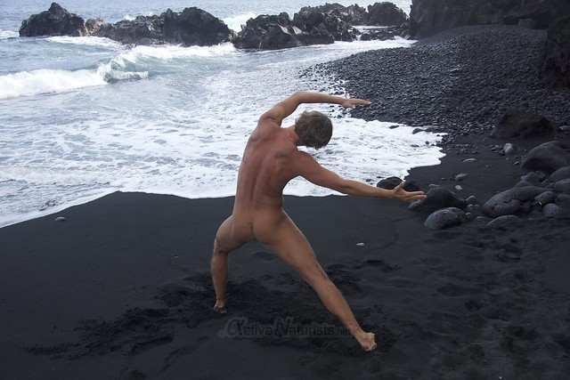 naturist yoga 0007 Kehena black sand beach, Hawaii, USA