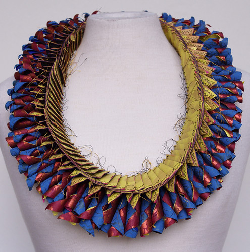 blue, green, red paper necklace