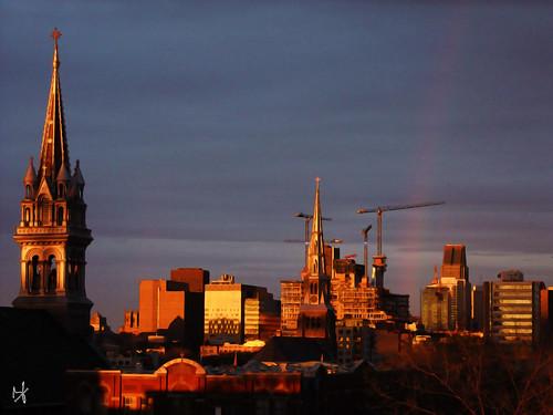 city church architecture clouds photoshop sunrise rainbow montreal fujifilm hdr springtime 2014 brunolaliberté