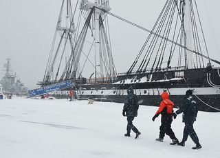 USS Constitution maintains a watch as winter storm Juno arrives in the Boston area.