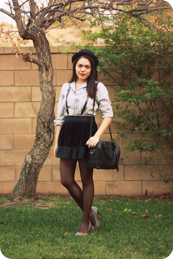 Sweets & Hearts style outfit post featuring thrifted striped J. Crew button-down shirt, black velvet skirt, suspenders, dotted tights, Irregular Choice Scottie Dog heels, Alice and Olivia black quilted Olivia satchel bag, bowler hat