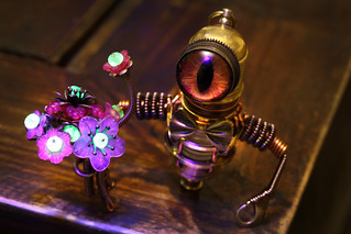 Steampunk Minion Robot with Uranium Glass Flowers and Bowtie