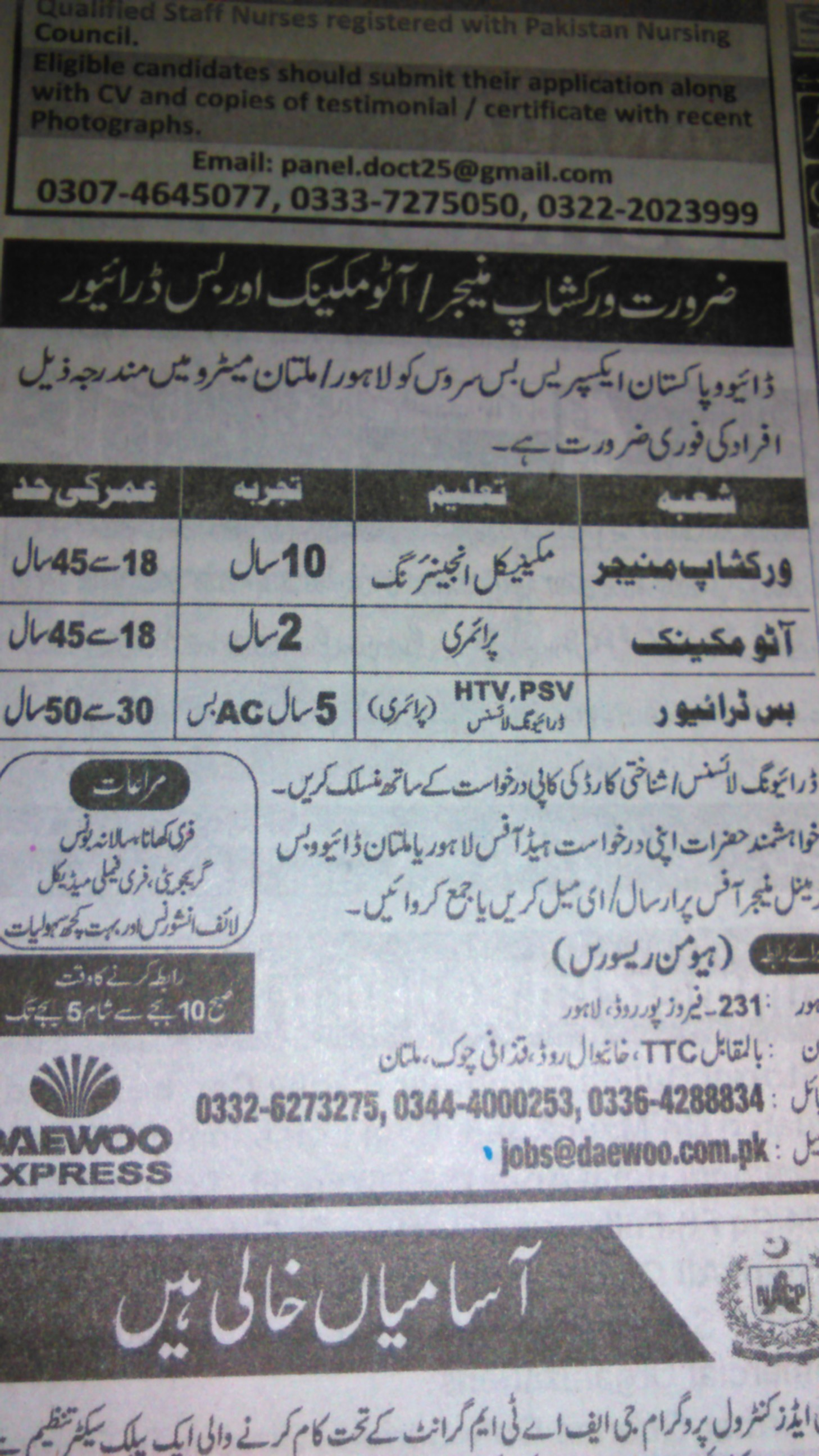 DAEWOO Express Career Opportunities
