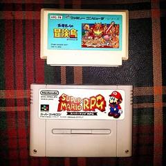 My 1st lot of import games, #AdventureIsland for #Famicom & #SuperMarioRPG for #SuperFamicom!