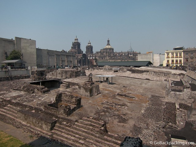 The Cathedral as seen from across Templo Mayor