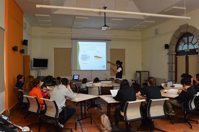 Jornada en un aula del CENEAM donde se ve al educador ambiental explicando conceptos a los asistentes
