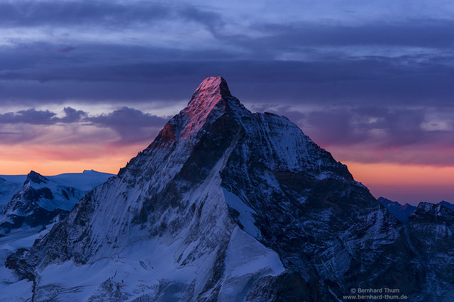 Matterhorn from southern crest of Dent Blanche with first sunlight