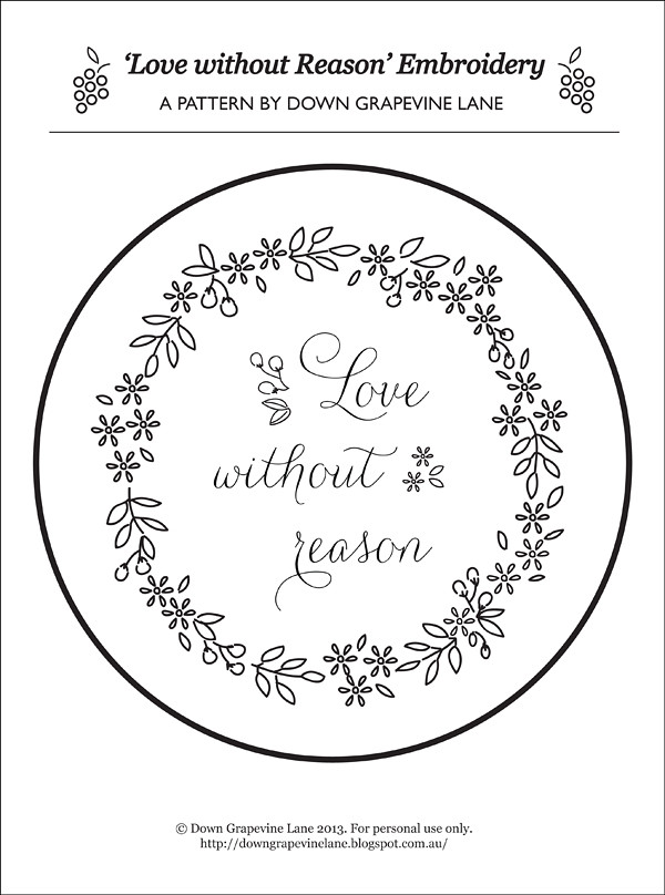 Love Without Reason embroidery