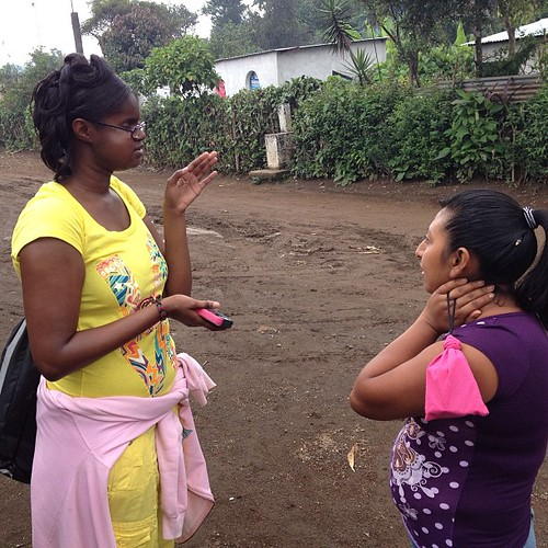 Anita (left) speaking with a local of Ceylan, Guatemala.
