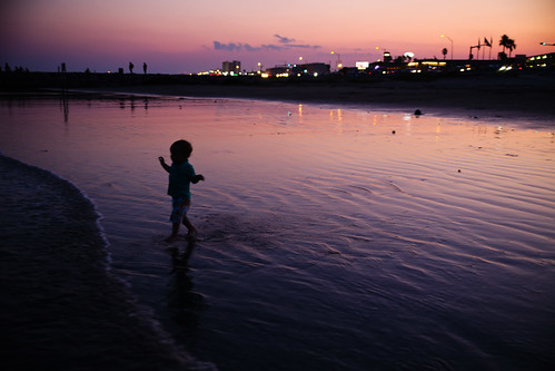 Toddler Wading at Sunset