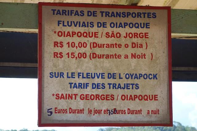 Tabela de preços de barco em Oiapoque