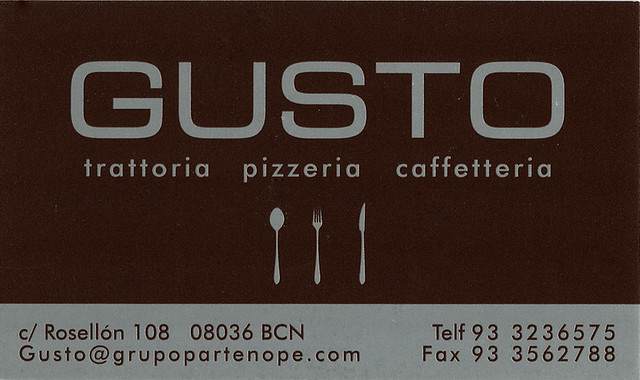 ephemera - Barcelona, Gusto Trattoria business card, 2010
